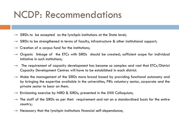 NCDP: Recommendations