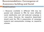 recommendations convergence at awareness building and social mobilization