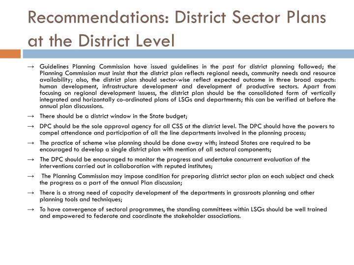 Recommendations: District Sector Plans at the District Level