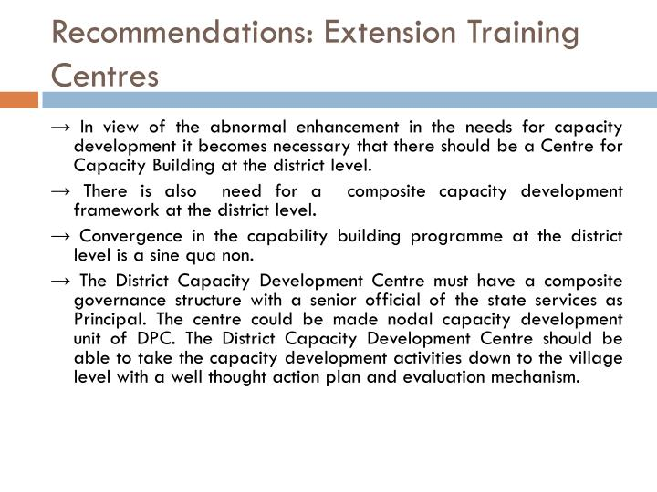 Recommendations: Extension Training