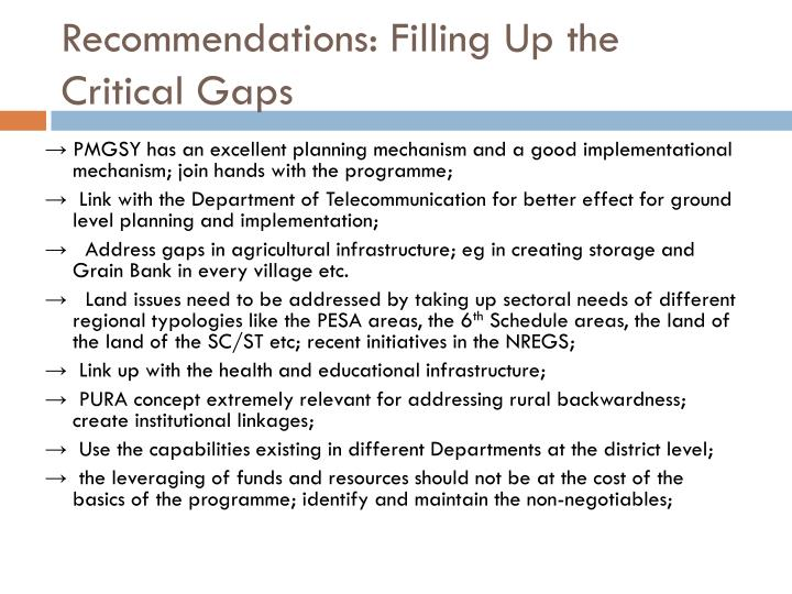 Recommendations: Filling Up the Critical Gaps