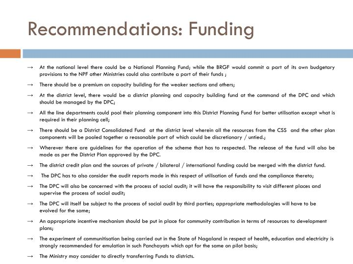 Recommendations: Funding