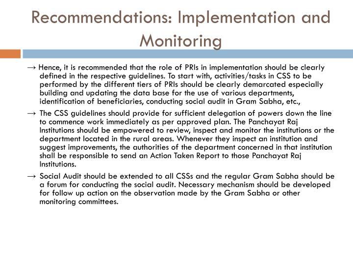 Recommendations: Implementation and Monitoring