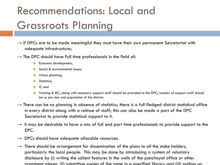 Recommendations: Local and Grassroots Planning