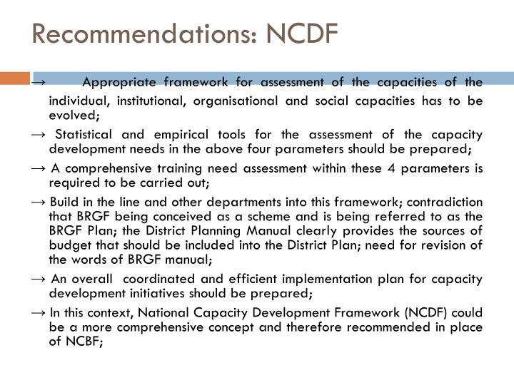 Recommendations: NCDF