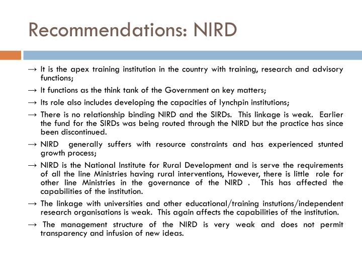 Recommendations: NIRD