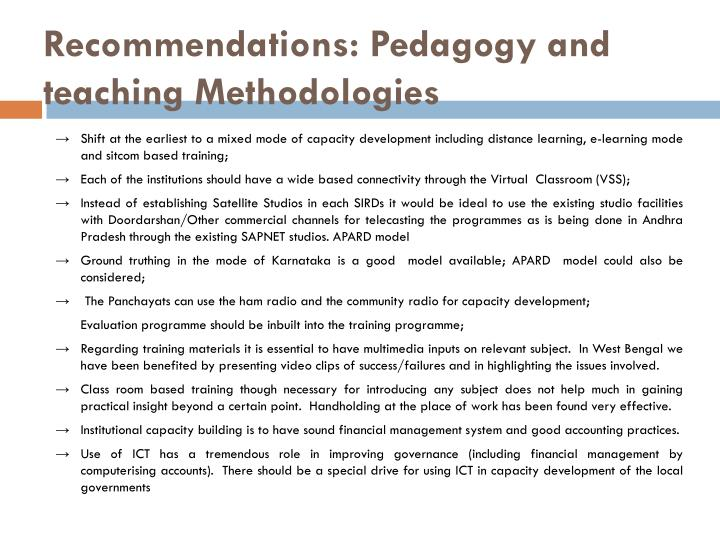 Recommendations: Pedagogy and teaching Methodologies