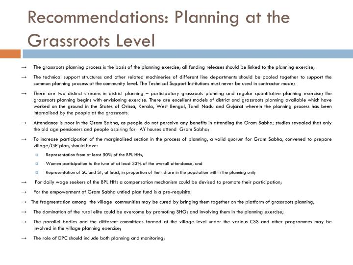 Recommendations: Planning at the Grassroots Level