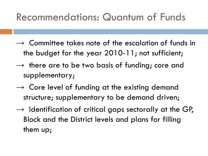 Recommendations: Quantum of Funds