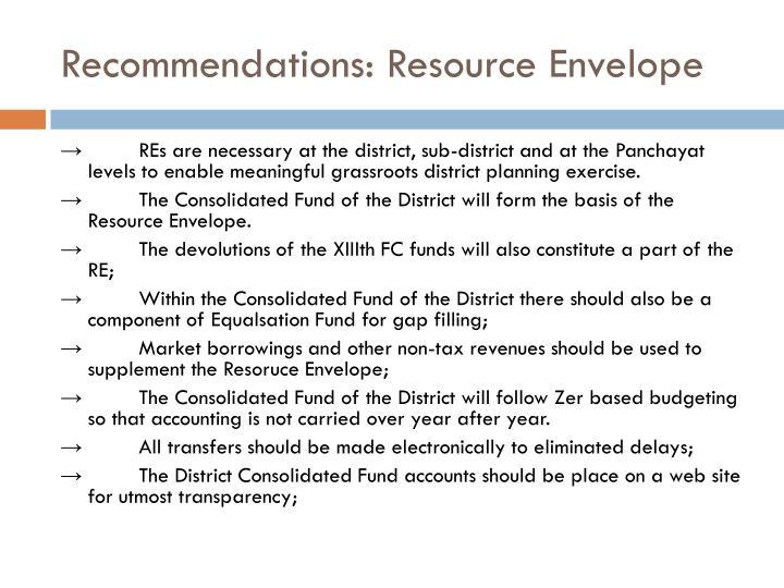 Recommendations: Resource Envelope