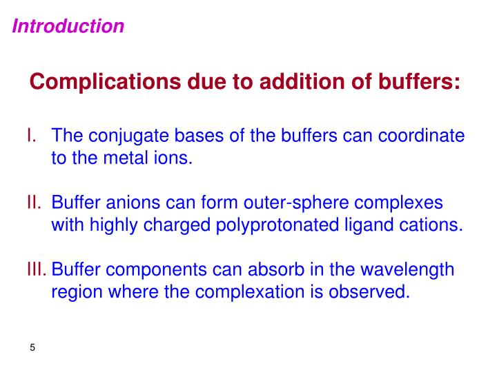 Complications due to addition of buffers: