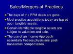 sales mergers of practices