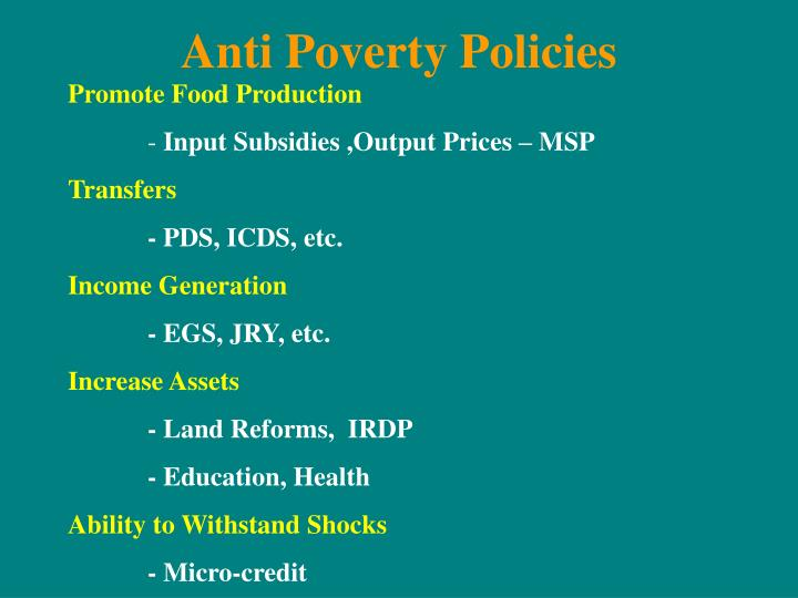 Anti Poverty Policies