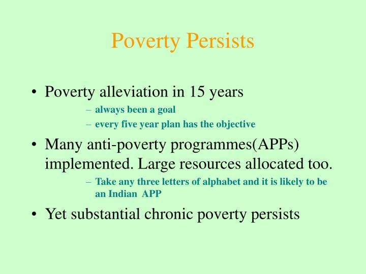 Poverty Persists