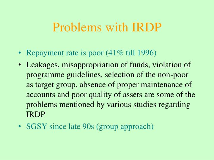 Problems with IRDP