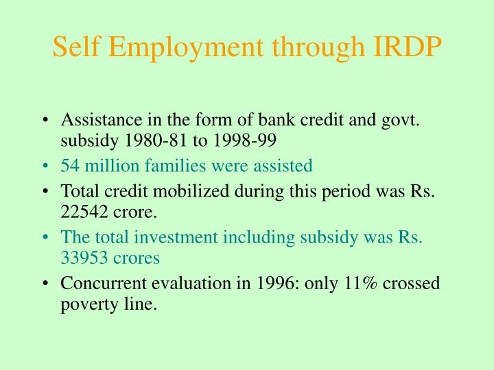 Self Employment through IRDP