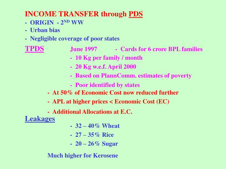 INCOME TRANSFER through