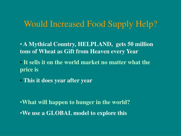 Would Increased Food Supply Help?