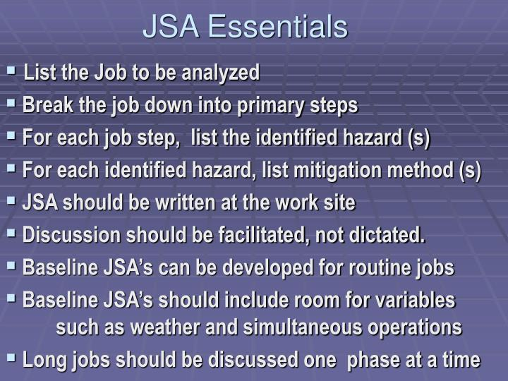Jsa essentials
