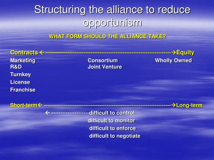 Structuring the alliance to reduce opportunism