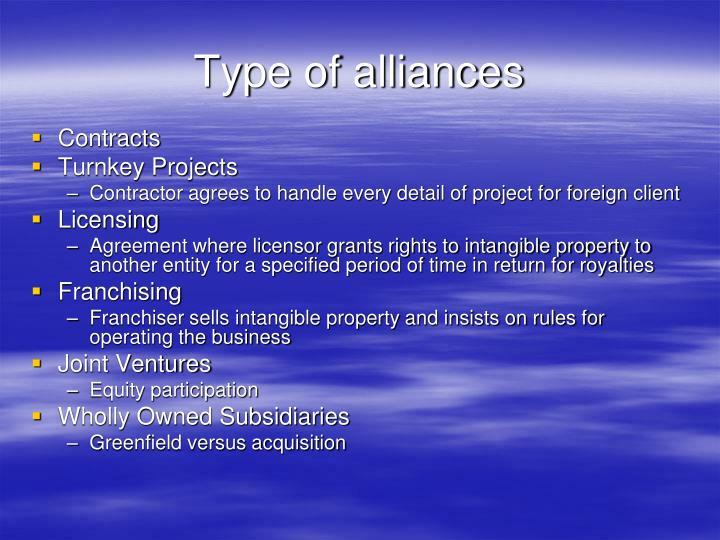 Type of alliances