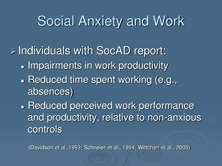 Social Anxiety and Work