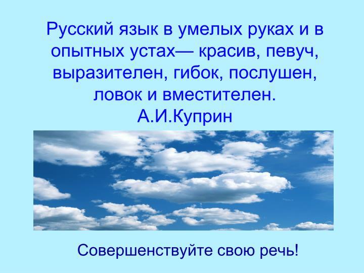 Русский язык в умелых руках и в опытных устах— красив, певуч, выразителен, гибок, послушен, ловок и вместителен.                     А.И.Куприн