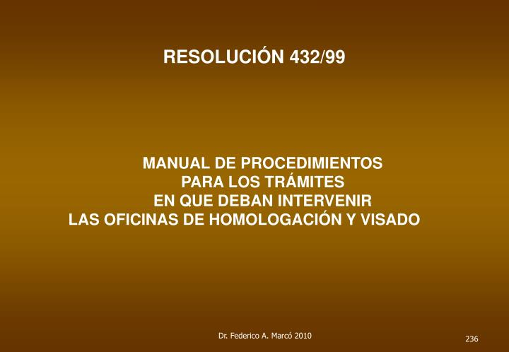 RESOLUCIÓN 432/99