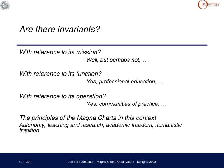 Are there invariants?