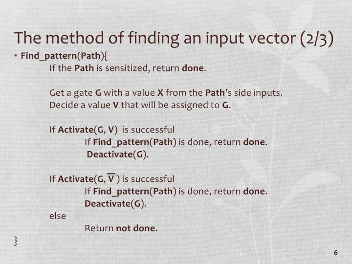 The method of finding an input vector (2/3)