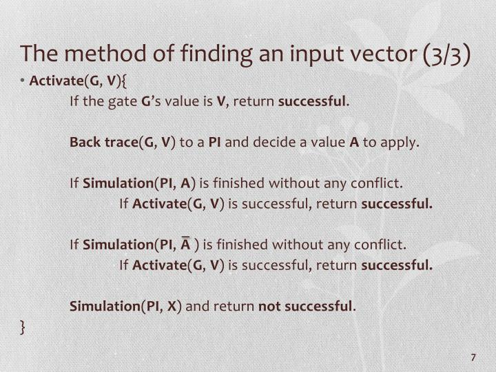 The method of finding an input vector (3/3)