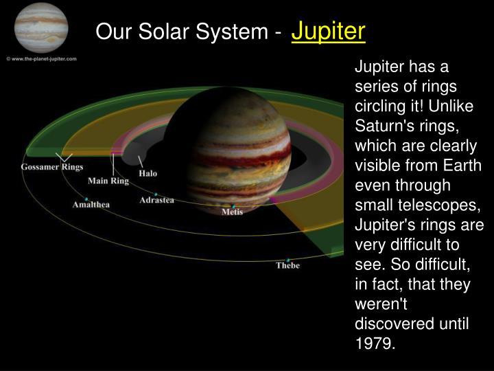 Jupiter has a series of rings circling it! Unlike Saturn's rings, which are clearly visible from Earth even through small telescopes, Jupiter's rings are very difficult to see. So difficult, in fact, that they weren't discovered until 1979.
