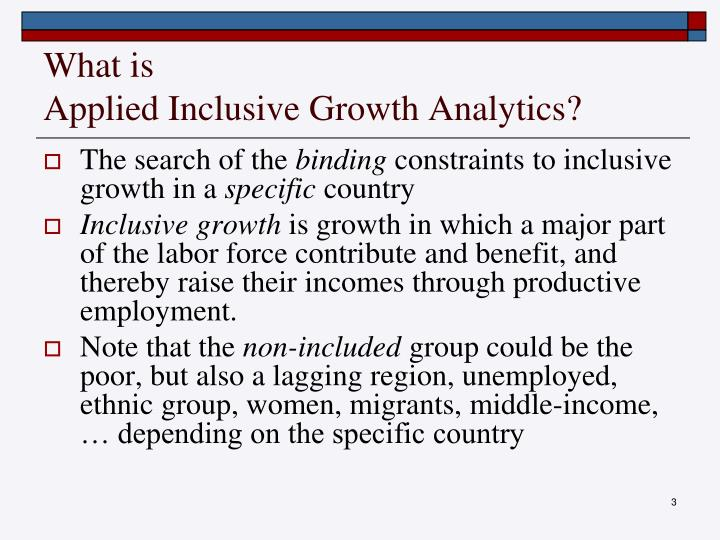 What is applied inclusive growth analytics