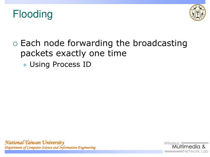 Each node forwarding the broadcasting packets exactly one time