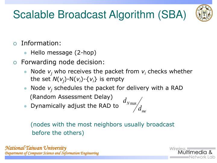 Scalable Broadcast Algorithm (SBA)