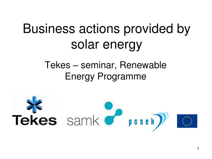 business actions provided by solar energy