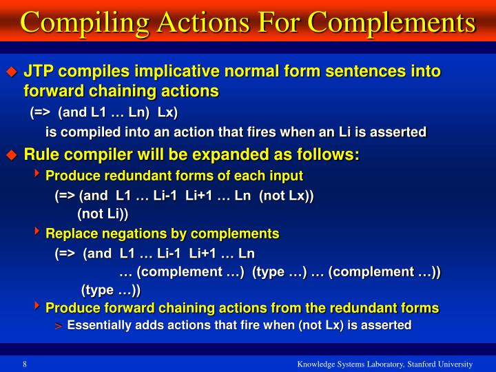 Compiling Actions For Complements