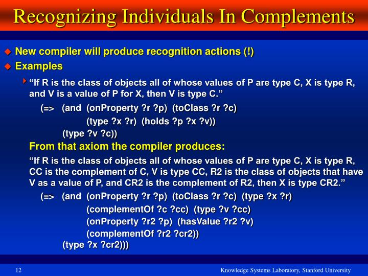 Recognizing Individuals In Complements