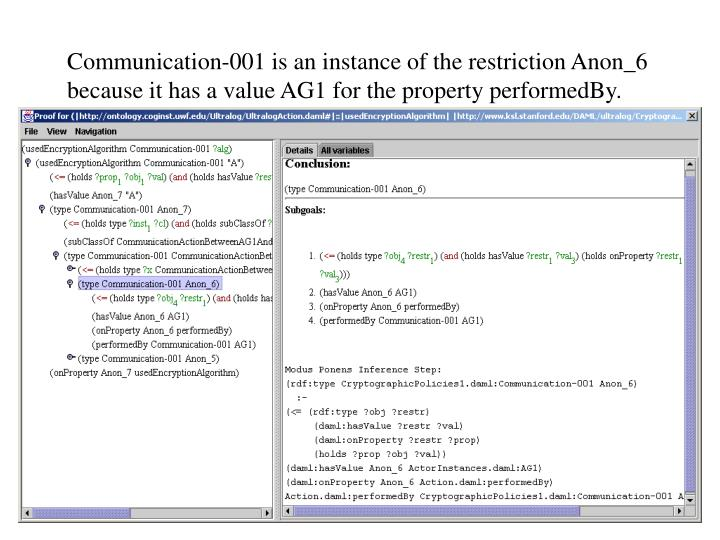 Communication-001 is an instance of the restriction Anon_6 because it has a value AG1 for the property performedBy.