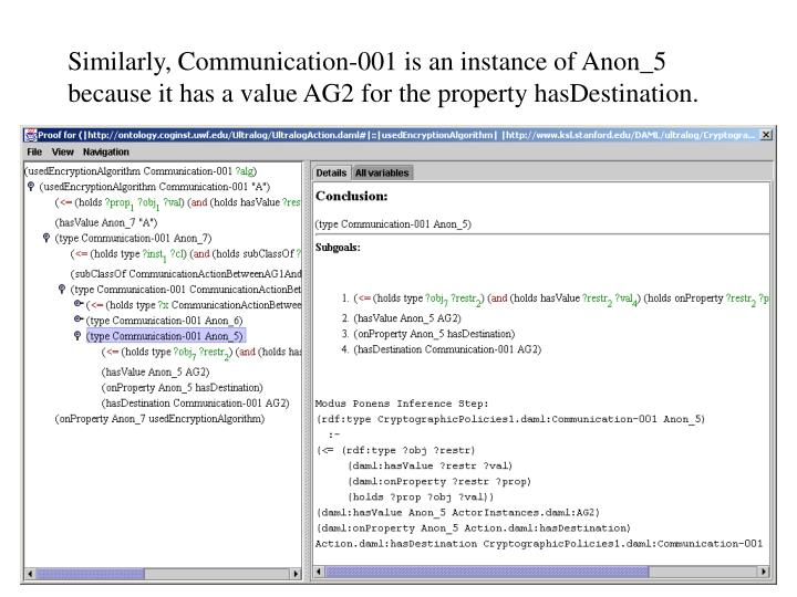 Similarly, Communication-001 is an instance of Anon_5 because it has a value AG2 for the property hasDestination.