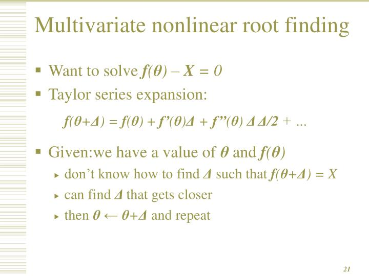Multivariate nonlinear root finding