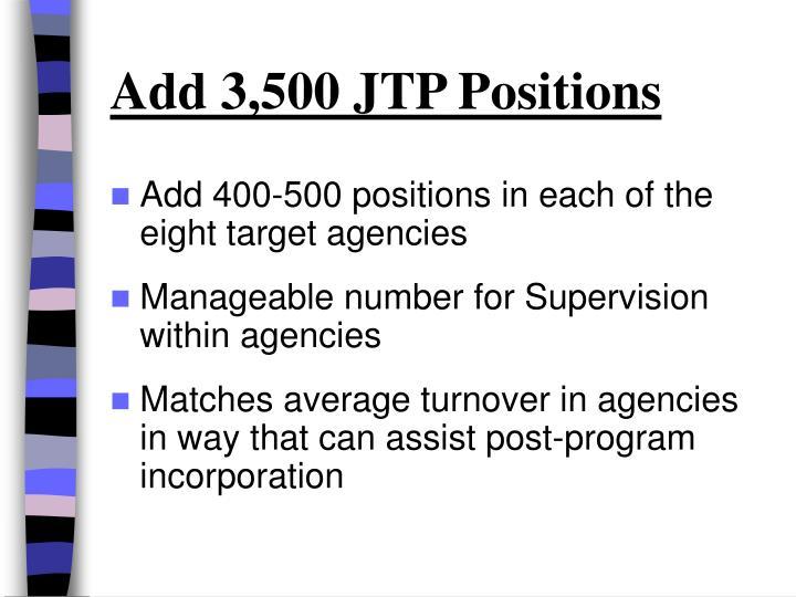 Add 3,500 JTP Positions