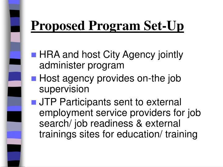 Proposed Program Set-Up