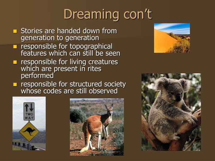 Dreaming con't