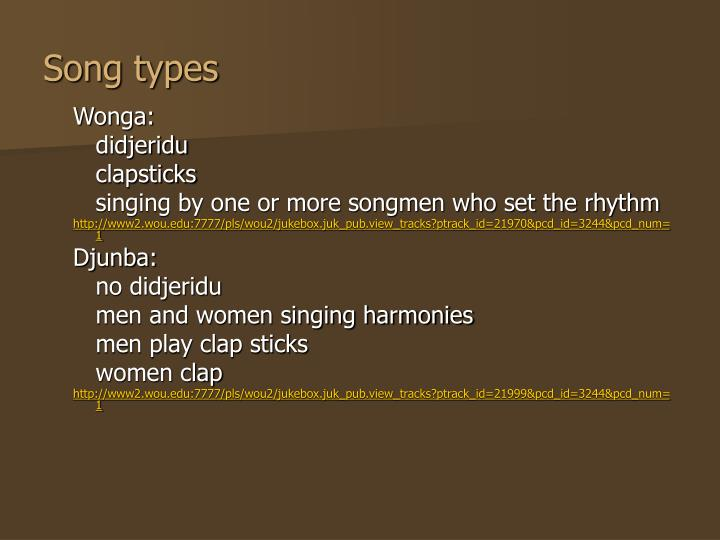Song types