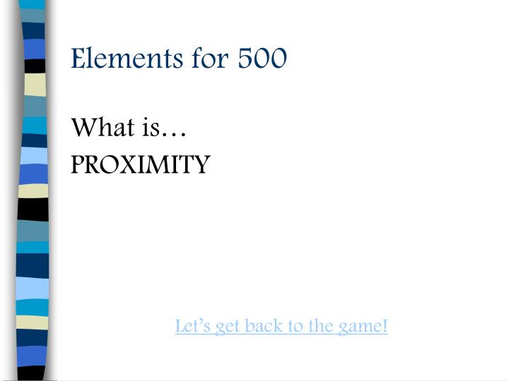 Elements for 500