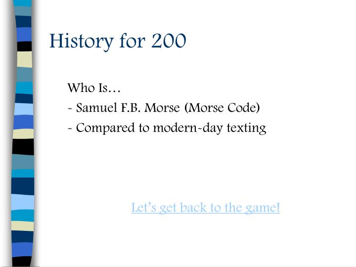 History for 200