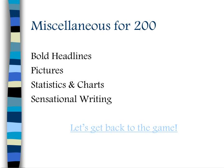 Miscellaneous for 200