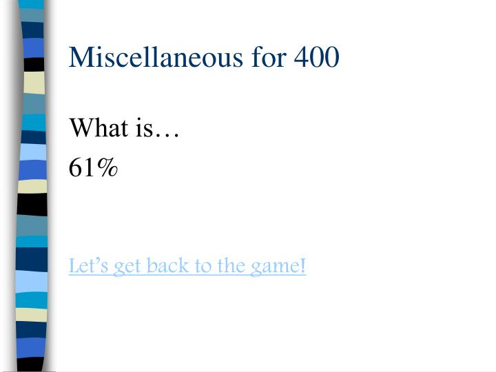 Miscellaneous for 400
