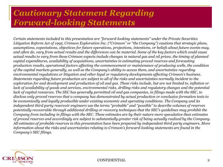 Cautionary Statement Regarding